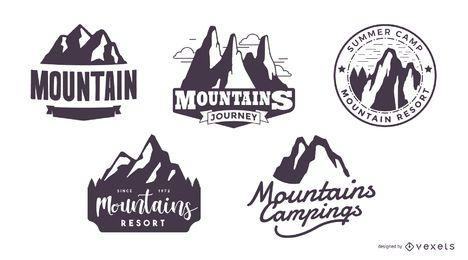 Conjunto de logotipo de silueta de montaña