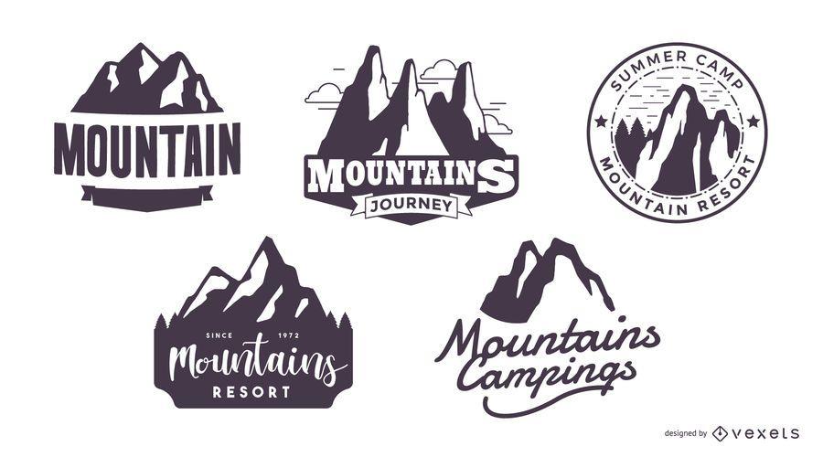 Conjunto de logotipo de silhueta de montanha