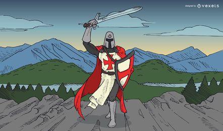 Ilustración de Caballero Templario