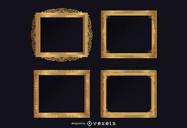 Conjunto de molduras douradas ornamentais