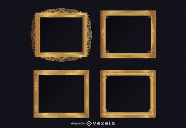 Ornamental golden frames set