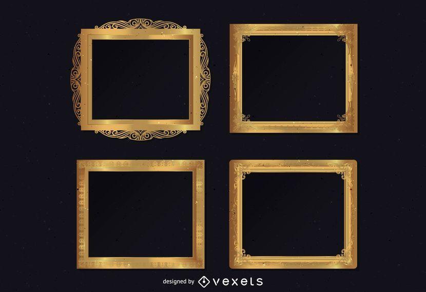 Conjunto de marcos ornamentales dorados.