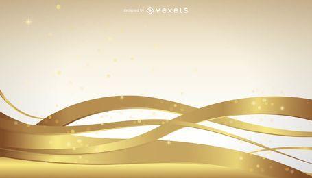 Fondo de líneas doradas onduladas