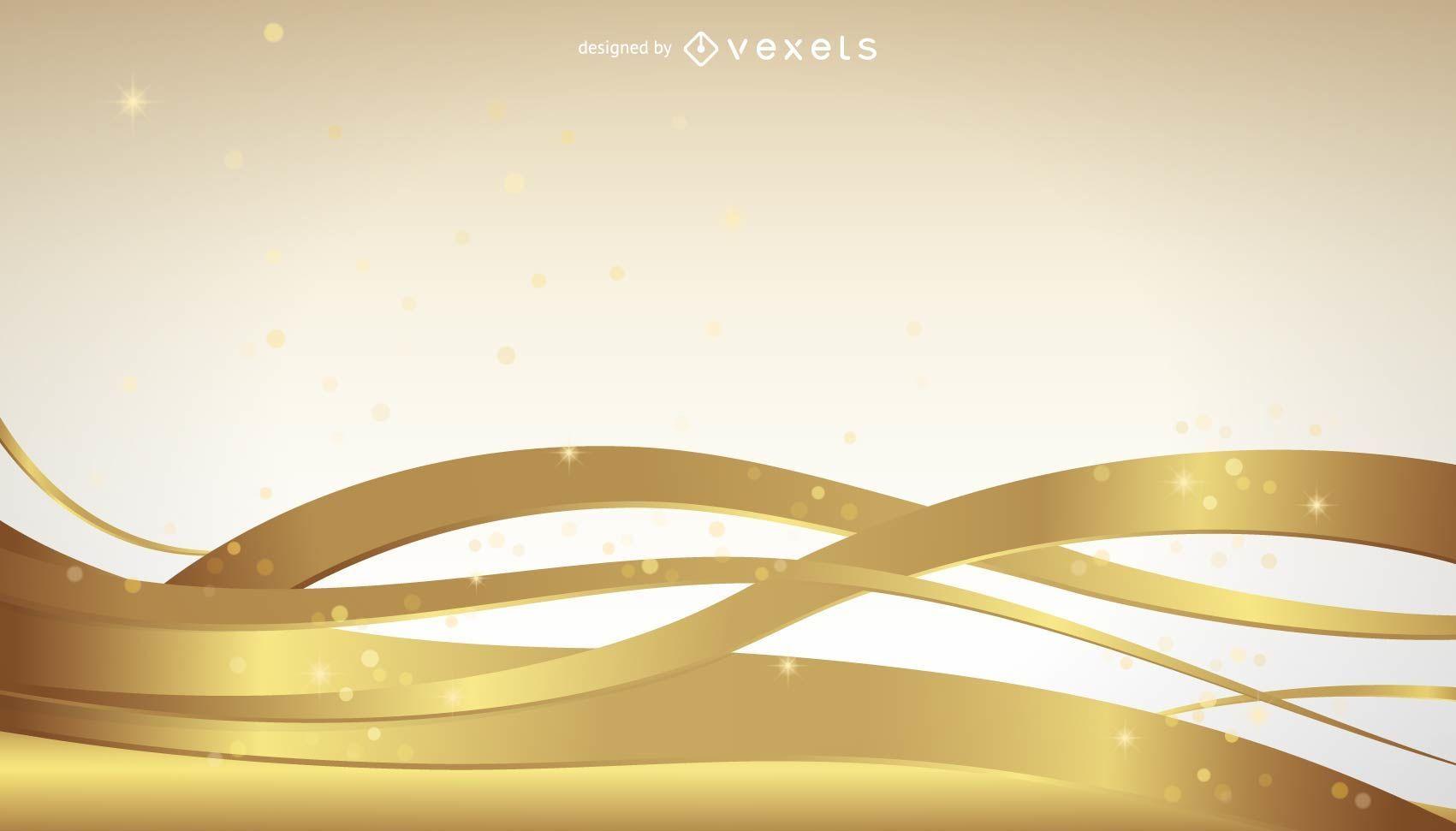 Golden wavy lines background