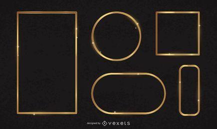 Conjunto de marcos dorados brillantes