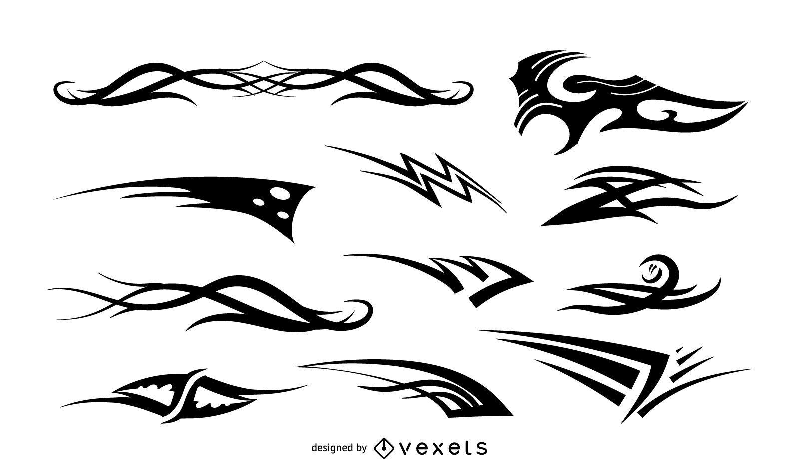 Black decals set