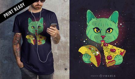 Diseño de camiseta de gato cósmico