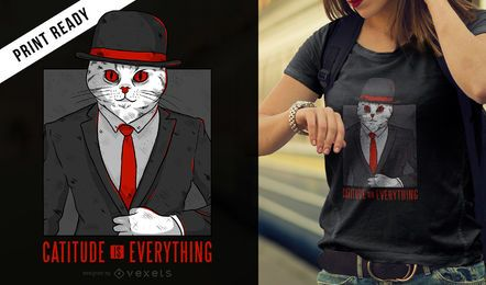 Diseño de camiseta cat quote