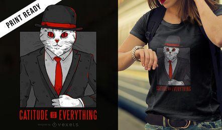 Diseño de camiseta con cita de gato.