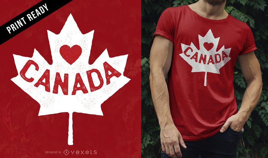 Diseño de camiseta Love Canada.
