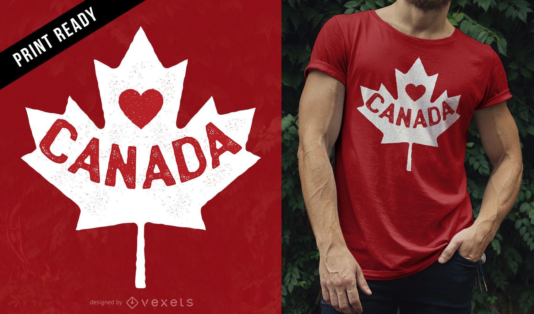 Diseño de camiseta Love Canada
