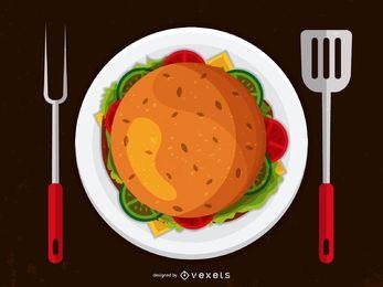 Ilustración de utensilios de hamburguesa y parrilla