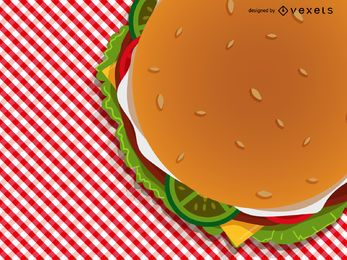 Burger on checkered tablecloth illustration