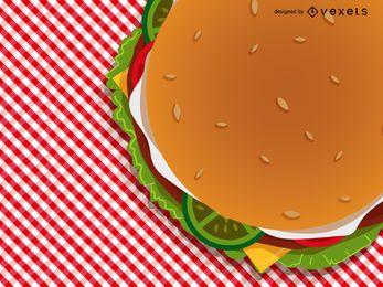 Hamburguesa en la ilustración de mantel a cuadros