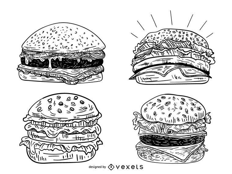 Conjunto de hambúrguer de esboço