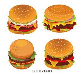 Conjunto de ilustração de hambúrguer