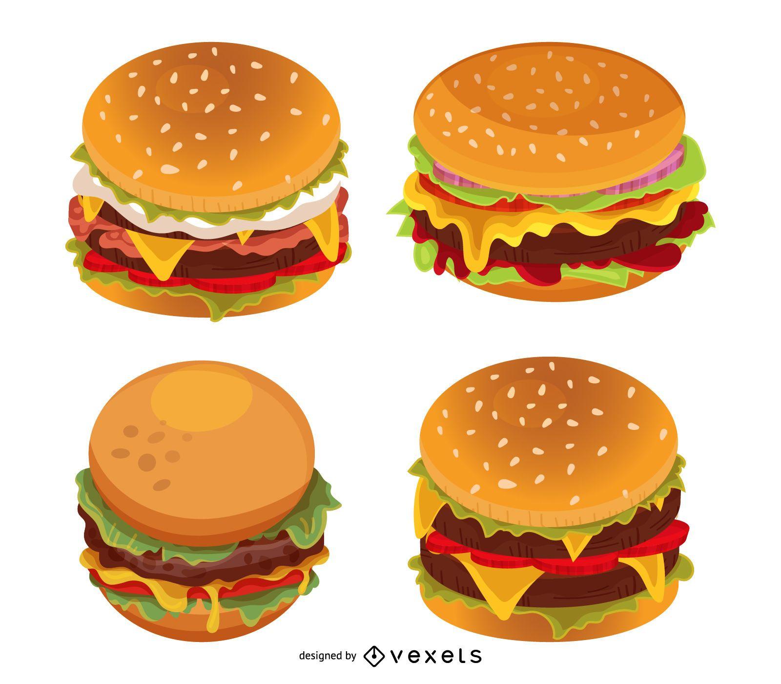 Conjunto de ilustración de hamburguesa