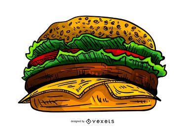 Ilustración de hamburguesa