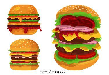 Conjunto de ilustração grande hambúrguer