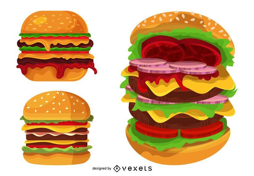 Conjunto de ilustración de hamburguesa grande