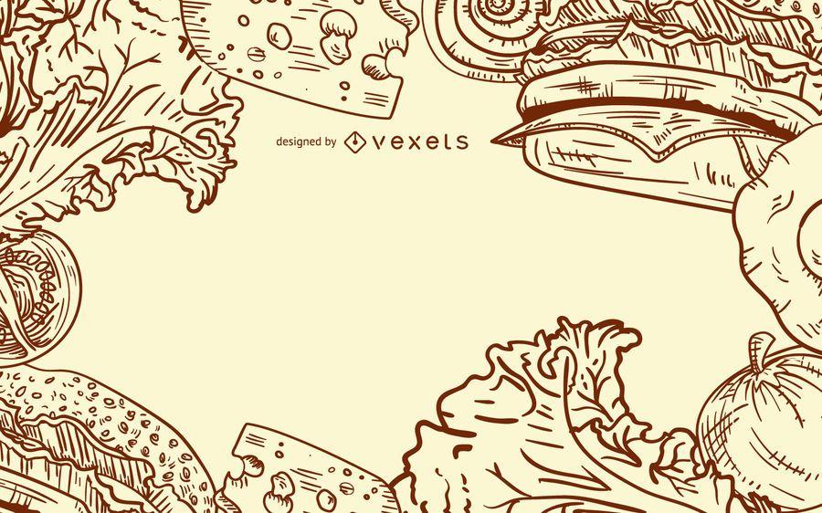 Design de ingredientes de hambúrguer