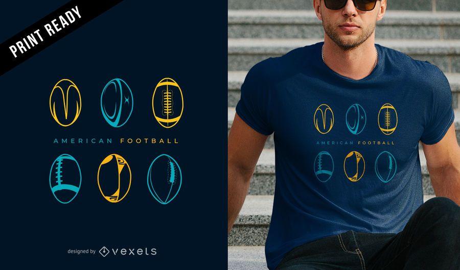 Design de t-shirt de futebol americano