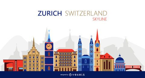Zurich skyline illustration