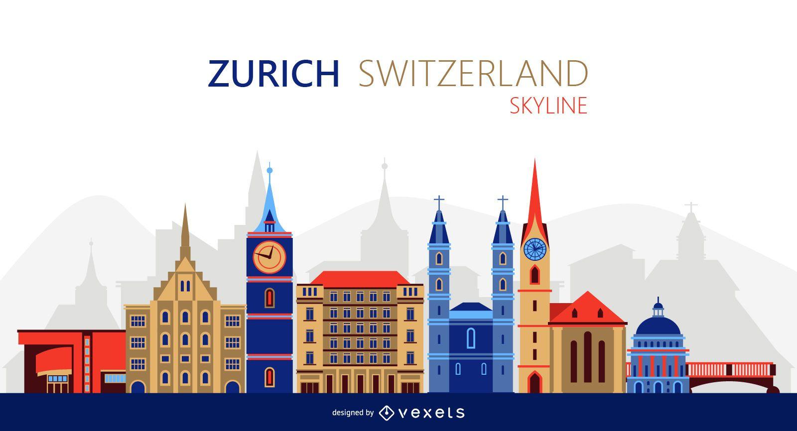 Zurich skyline illustration
