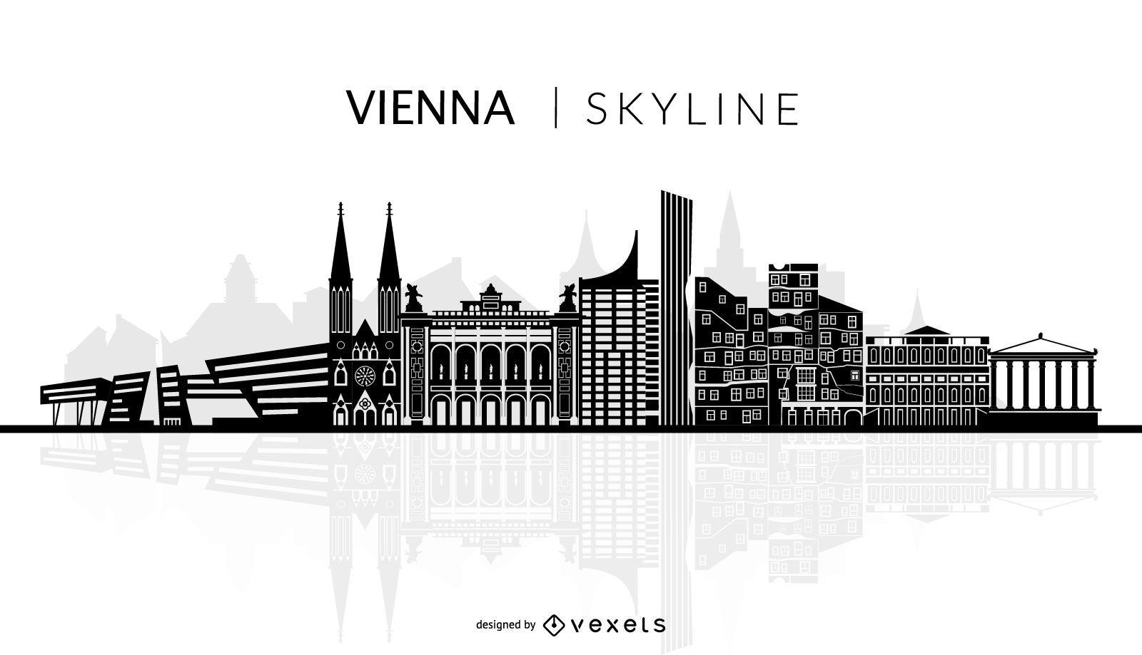 Vienna skyline silhouette