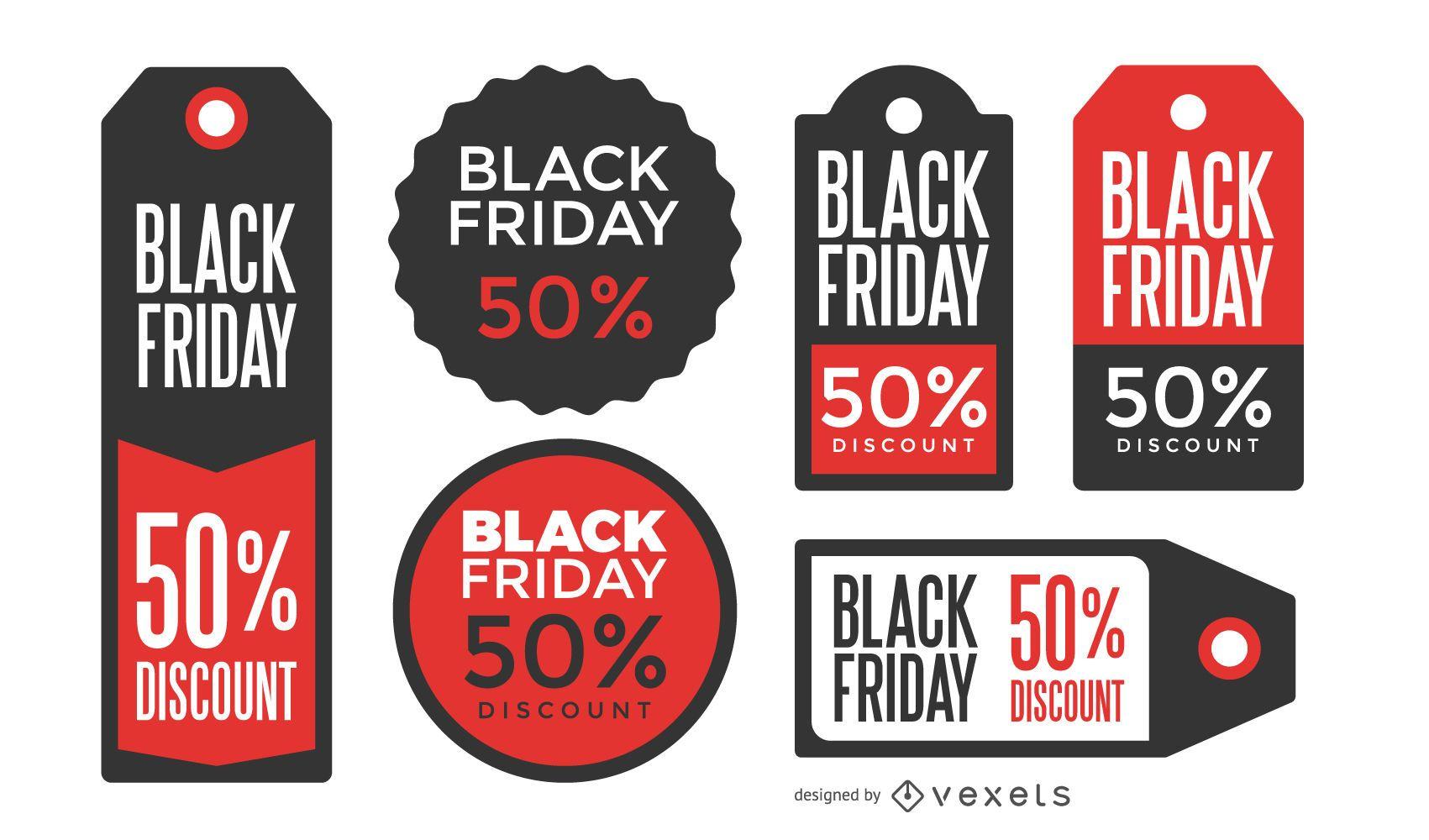 Etiquetas de precio de Black Friday
