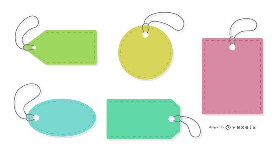 Etiquetas de precios de colores establecidos