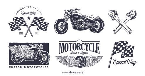 Conjunto de logo de moto vintage