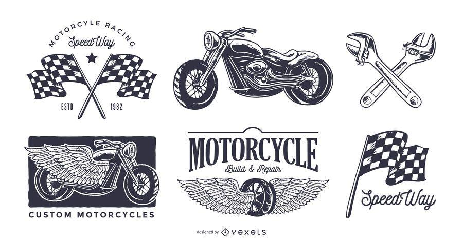 Conjunto de logotipo de moto vintage