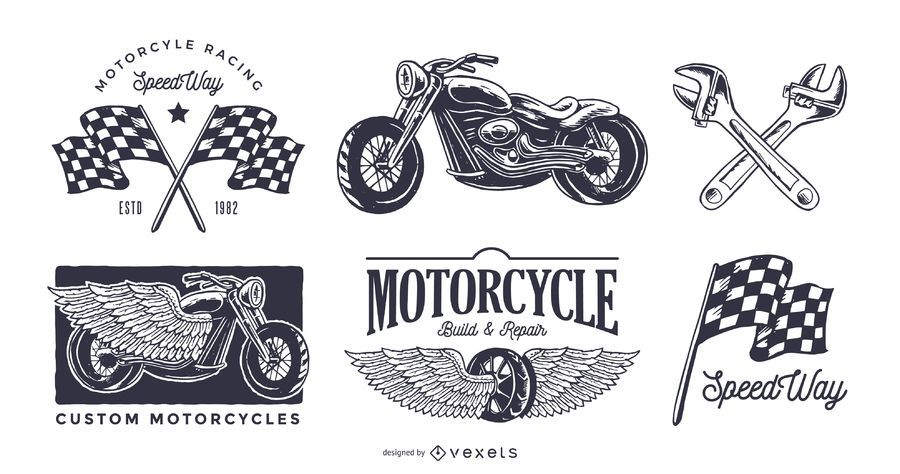 Vintage motorcycle logo set