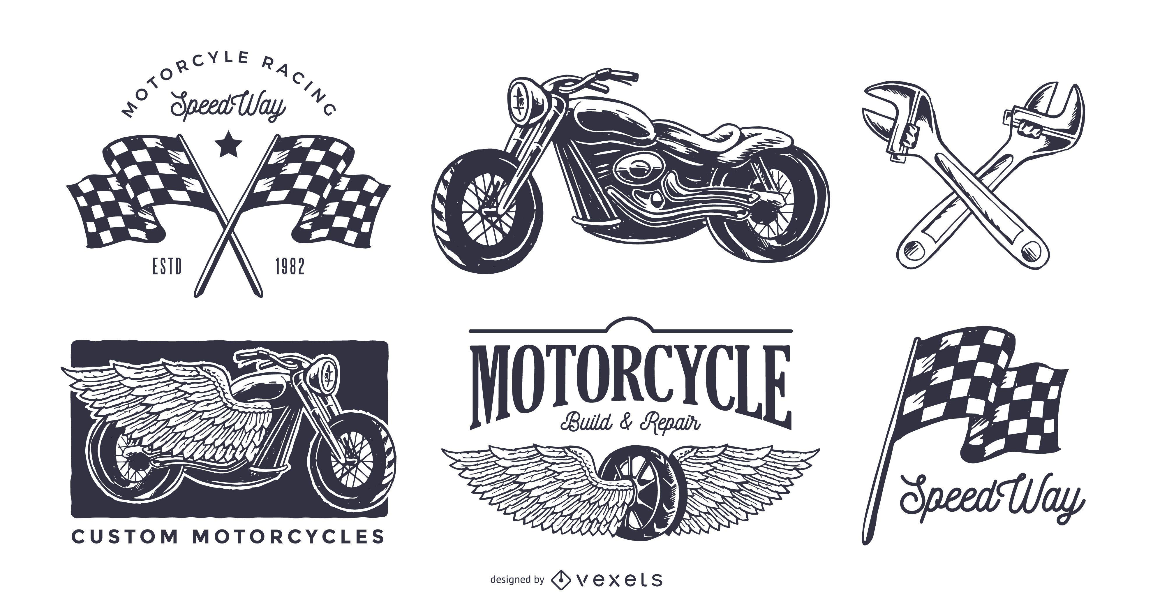 Conjunto de logo de motocicleta vintage