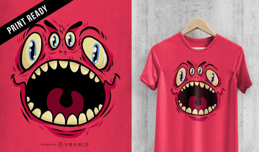 Projeto do t-shirt do monstro de quatro olhos