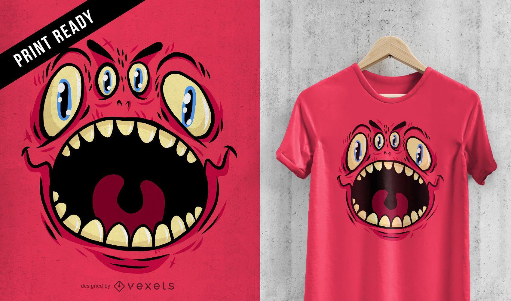 Four eyed monster t-shirt design