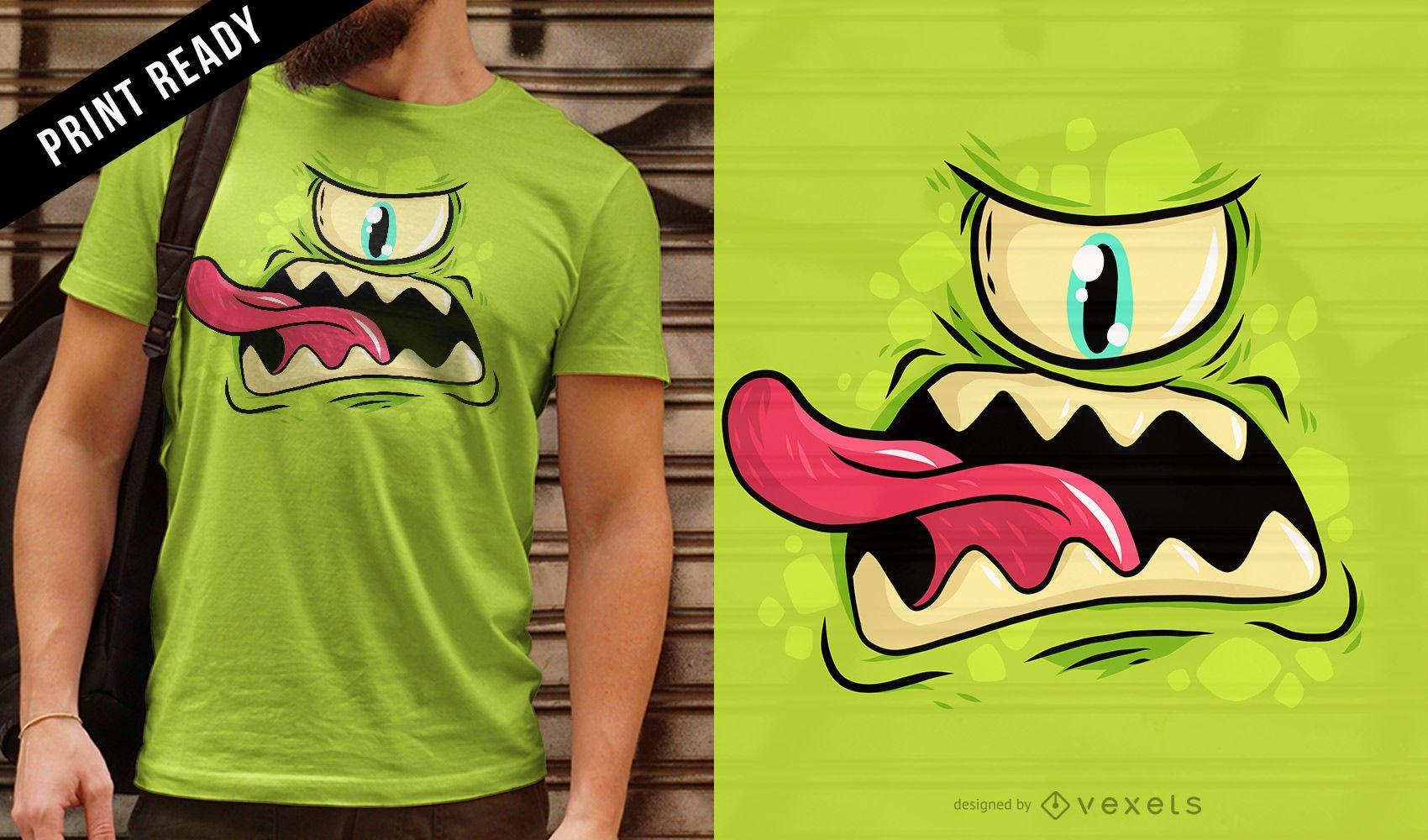 Diseño de camiseta de monstruo cíclope.