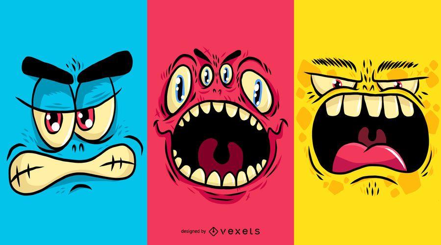 Conjunto de cara de monstruo
