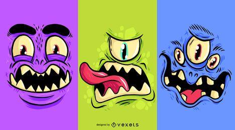 Conjunto de desenhos animados de cara de monstro