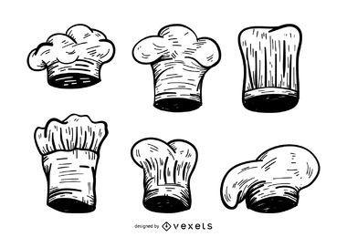Sombrero de chef conjunto de bocetos