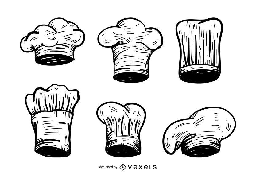 Conjunto de desenho de chapéu de chef