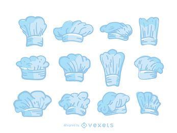 Conjunto de sombreros de cocinero azul.