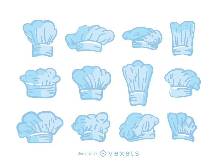 Blue chef hats set