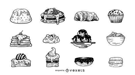 Conjunto de ilustración de postres y pasteles.