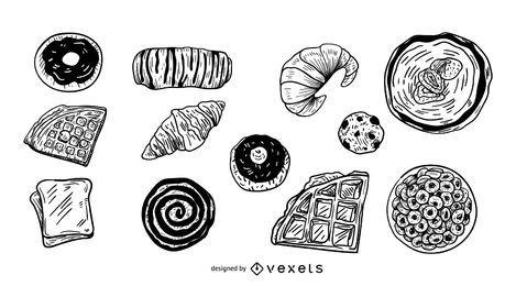 Conjunto de ilustração de sobremesas