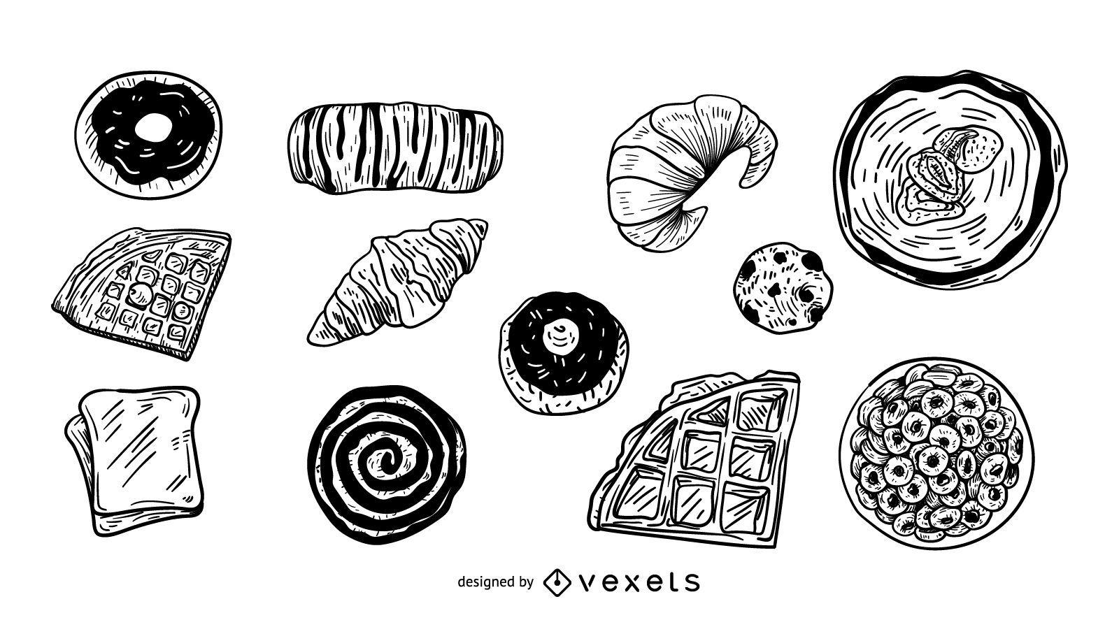 Desserts illustration set