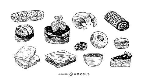 Sobremesas mão desenhada conjunto