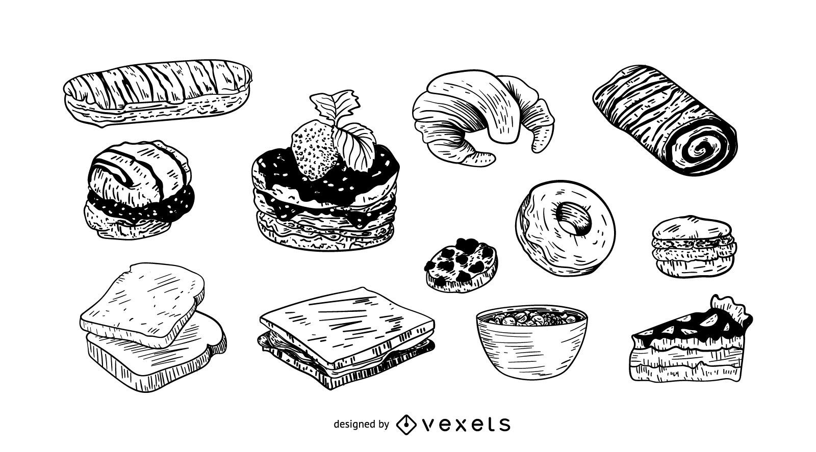 Desserts hand drawn set
