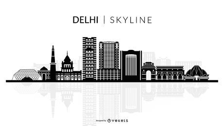 Delhi skyline silhouette